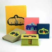 Handmade Elephant Dung Paper Holder Family Motif