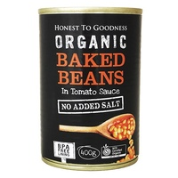 Baked Beans Organic in Tomato Sauce 400g - NO ADDED SALT. BPA Free